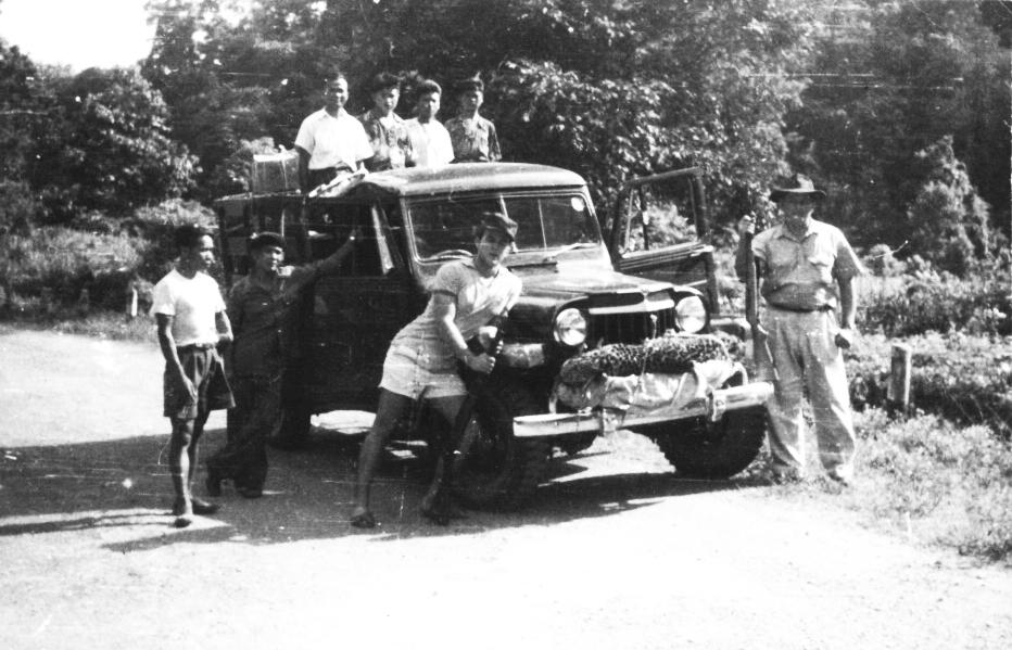 Bill, Harold and Lahu boys on hunting trip, 1951