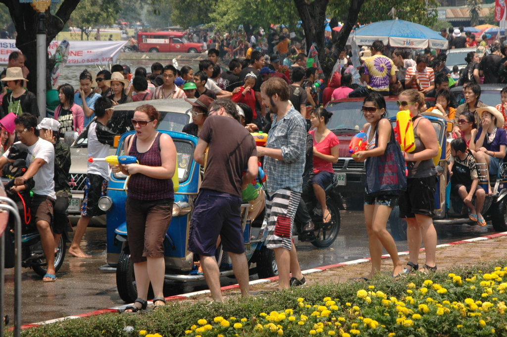 Tourists in the streets of chiang Mai