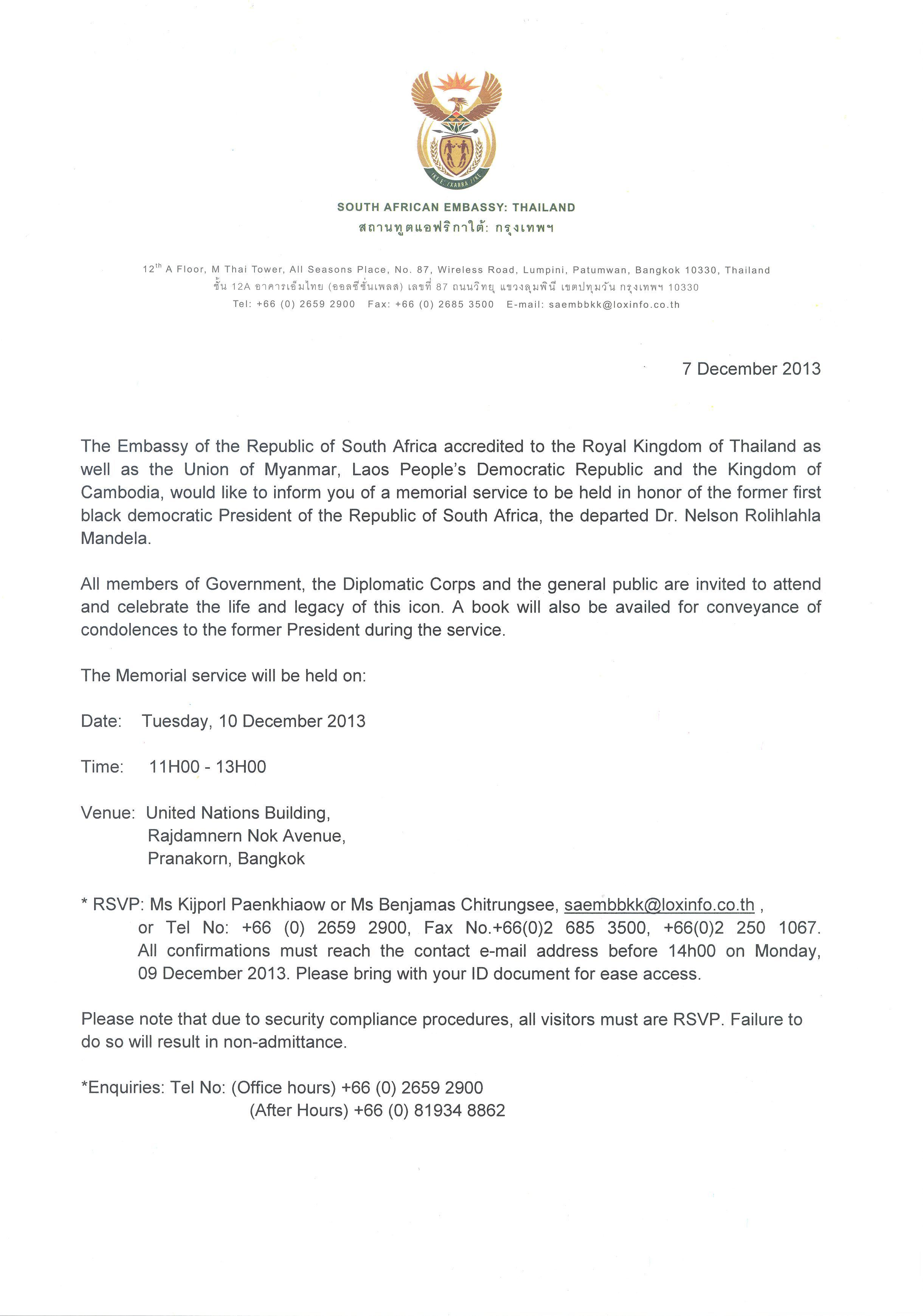 Chiang mai citynews invitation to nelson mandelas memorial all members of government the diplomatic corps and the general public are invited to attend and celebrate the life and legacy of this icon stopboris Images